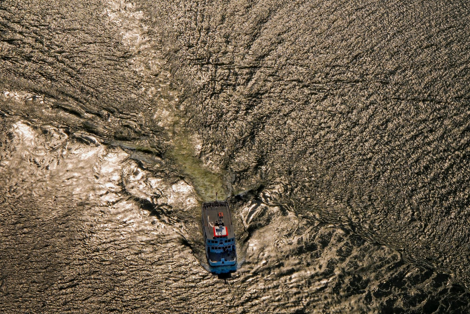 Aerial Photography, Tug boat in the Mississippi